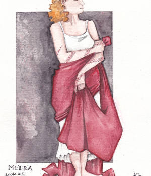 Medea with Red Fabric Rendering